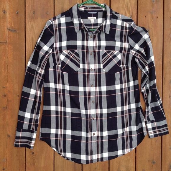 0dde705ede2a7 Merona Tops | 100 Rayon Navy Peach White Plaid Ls Shirt | Poshmark